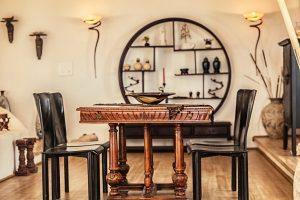 The luxury Villa Italiana dining room. A luxury villa in Mykonos with sea view.