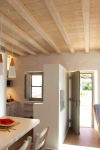 The Villa Chora Deluxe kitchen area open back door. A Luxury villa in Chora, Mykonos