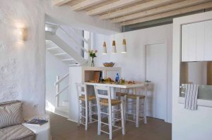 Inside view of the Villa Chora Deluxe kitchen area. A Luxury villa in Chora, Mykonos