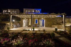 The Villa Onar & Villa Cloud Luxury retreats in Mykonos, as seen at night.