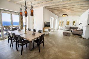 The Villa Onar & Villa Cloud Luxury retreats in Mykonos spacious open plan dining room area.