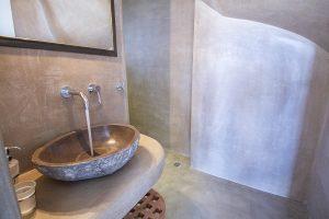 The Villa Onar & Villa Cloud Luxury retreats in Mykonos bathroom sink and shower.