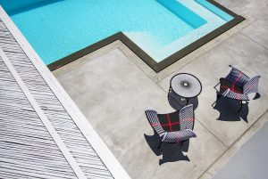 Top view of the swimming pool of the Villa Onar & Villa Cloud Luxury retreats in Mykonos.