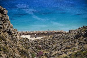 View of the Aegean sea as seen from the Villa Onar & Villa Cloud Luxury retreats in Mykonos.