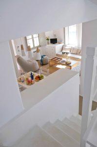 Top view of the Villa Chora Deluxe living room area. A Luxury villa in Chora, Mykonos