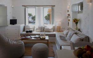 Inside view of the Villa Chora Deluxe sitting room area. A Luxury villa in Chora, Mykonos