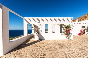 Outside area of the Villa Sotavento. A luxury villa retreat in Mykonos with sea view.