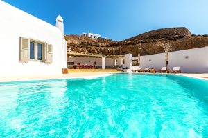 Villa Ftelia luxury villa rental in Mykonos exterior and swimming pool.