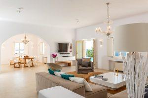 Villa Sotavento VIP luxury villa retreat in Mykonos open plan sitting room.