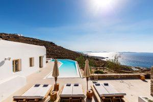 View of the Aegean sea from the Villa Sotavento. A luxury villa retreat in Mykonos.