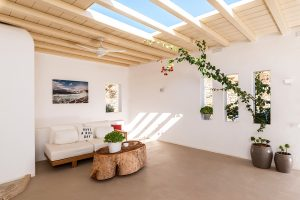Under the pergola of the Sotavento luxury villa. Wall plants, flower pots, sofa and coffee table.