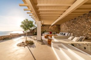 View of the sea from under the pergola of the Sotavento Luxury Villa Rental in Mykonos.