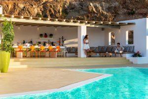 Villa Ftelia luxury villa rental in Mykonos pergola and swimming pool.