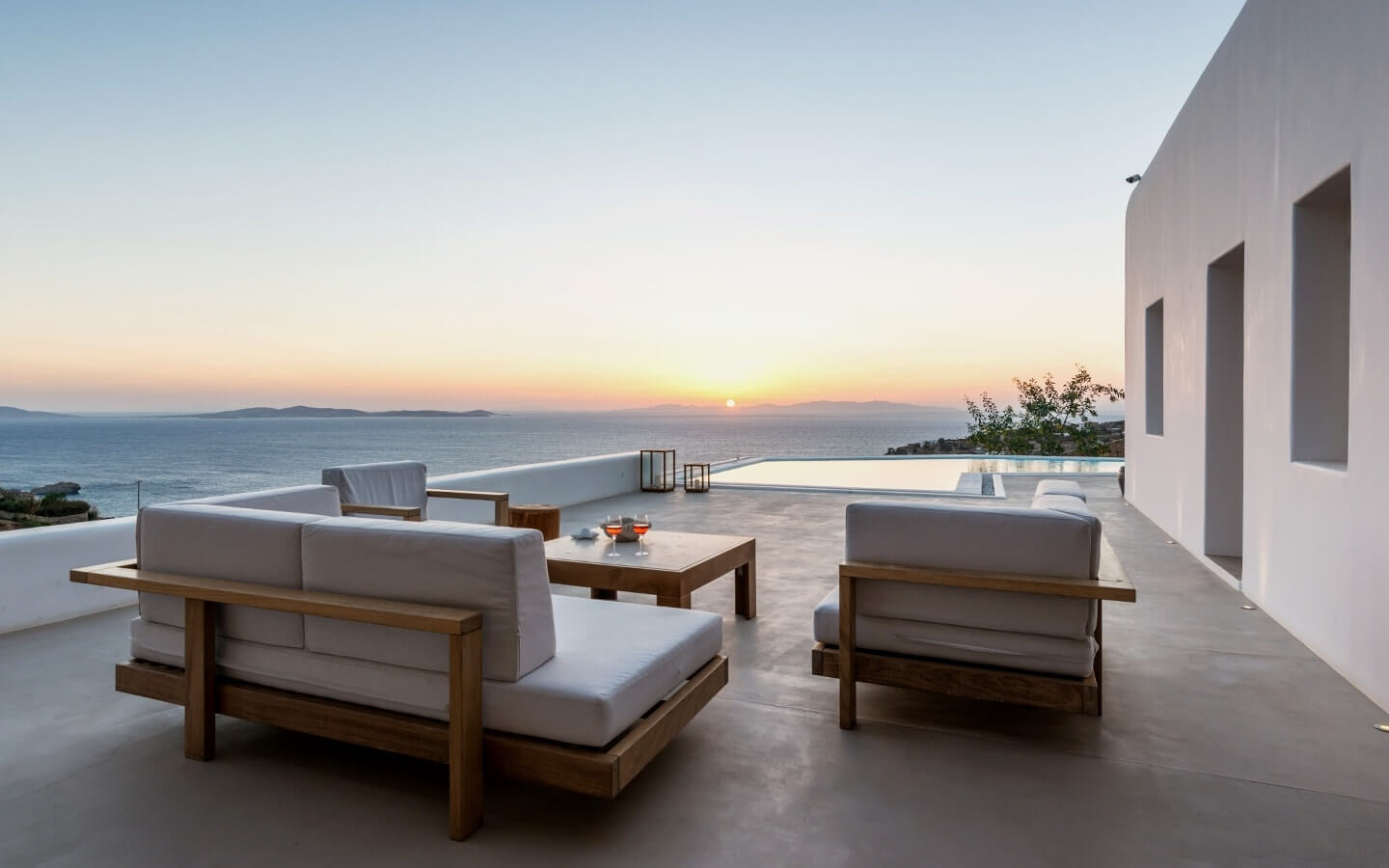 View of the Aegean sea as seen from the Just White Villas, a Luxury retreat for VIPs in Mykonos.