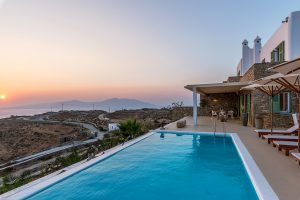 Villa Kastro luxury villa rental in Mykonos exterior and swimming pool with vista view.