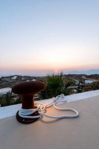 View of the Aegean sea as seen from Villa Kastro Windsurf & Kitesurf retreat in Mykonos.