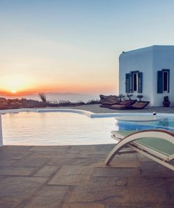 View of the sea as seen from the pool of the Villa Italiana, a luxury villa in Mykonos with sea view