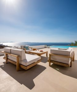 View of the Aegean sea as seen from the Sotavento Luxury villa retreat in Mykonos.